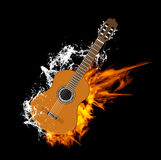 Vector Acoustic Guitar on Fire and Water. On Black Background Stock Photos