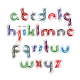 Vector acrylic alphabet letters set, hand-drawn colorful script,. Bright small letters drawn with ink brush, doodle smeared indistinct font Stock Photos
