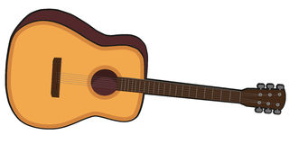 Vector Acustic Guitar. Vector Isolated Acustic Guitar on White Background Royalty Free Stock Image