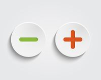 Vector add, cancel, or the plus and minus signs on. Buttons or circles icon isolated on white background Royalty Free Stock Photo