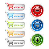 Vector add delete shopping cart item Royalty Free Stock Photography