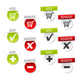 Vector add delete shopping cart item Stock Images