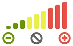 Volume level bars scale icon. Green to red colours, with minus for decrease, plus for increase and crossed circle for mute signs. Volume level bars scale icon stock illustration