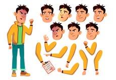 Vector adolescente asiático del muchacho adolescente Active, expresión Emociones de la cara, diversos gestos Sistema de la creaci stock de ilustración