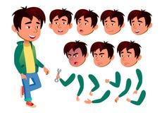 Vector adolescente asiático del muchacho adolescente Emocional, actitud Emociones de la cara, diversos gestos Sistema de la creac stock de ilustración