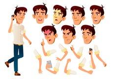 Vector adolescente asiático del muchacho adolescente Ocio, sonrisa Emociones de la cara, diversos gestos Sistema de la creación d stock de ilustración