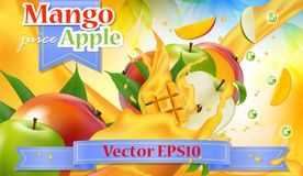 Vector ads 3d promotion banner. Realistic apple mango splashing. With falling slices, juice drops, vitamins, leaves. Mock up for yogurt, ice cream, juice brand stock illustration