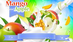 Vector ads 3d promotion banner. Realistic apple mango splashing. With falling slices, juice drops, vitamins, leaves. Mock up for yogurt, ice cream, juice brand Stock Image