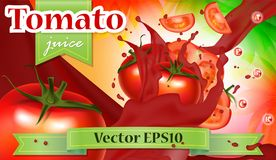 Vector ads 3d promotion banner, Realistic tomatoes splashing wit. H falling slices, juice drops, vitamins, leaves. Mock up for juice brand advertising. Label Royalty Free Stock Image