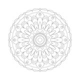 Vector adult coloring book circular pattern mandala abstract flower black and white - floral background Stock Image