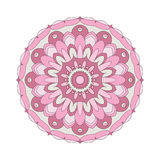 Vector adult coloring book circular pattern mandala flower colored old pink - floral background Royalty Free Stock Photo