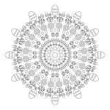 Vector adult coloring book circular pattern mandala  spring easter black and white - background with eggs Stock Images