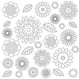 Vector adult coloring book floral pattern black and white - flowers and leaves - wildflovers meadow Royalty Free Stock Photo