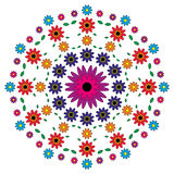 Vector adult coloring book pattern mandala flowers colored - floral background Stock Photography