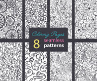 Vector Adult Coloring Book Textures Seamless Repeat Patterns 8 Set  Stock Image
