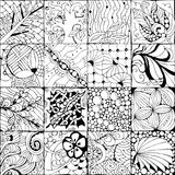 Hand drawn zentangle background for coloring page. Vector Adult Coloring Book Textures. various patterns. 16 pieces Stock Photos