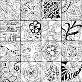 Hand drawn zentangle background for coloring page. Vector Adult Coloring Book Textures. various patterns. 16 pieces Stock Photography