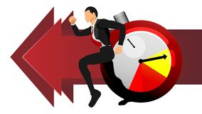 Vector of adult men running after time. illustration info business info graphic. Eps10 royalty free illustration