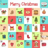 Vector advent calendar with Christmas cartoon characters and symbols. Penguin, Santa, gift, fox, bear, sweets and. Holiday calligraphy Royalty Free Stock Photos