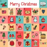 Vector advent calendar with Christmas cartoon characters and symbols. Penguin, Santa, gift, fox, bear, sweets and. Holiday calligraphy Royalty Free Stock Photo