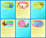 Vector Advertisement Banners Springtime Concept. Promo emblems design with tags. Spring best offer sale stickers on web posters text, dragonfly butterfly Royalty Free Stock Image