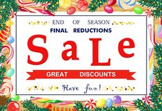 Festive, bright poster seasonal sale. Vector illustration. Vector advertising banner for the final, holiday sales on a white sheet with text about discounts on Royalty Free Stock Photography