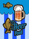 Vector  advertising beer and fish. Vector postcard advertising beer and fish Stock Images
