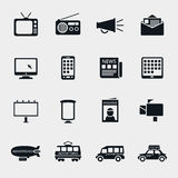 Vector advertising media silhouette icons Stock Photos