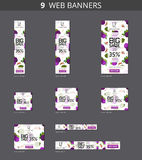Vector advertising web banners with big sale and with pattern figs and leaves Royalty Free Stock Photo