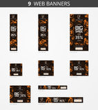 Vector advertising web banners with big sale and with pattern happy pumpkin Royalty Free Stock Image