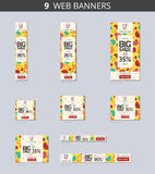 Vector advertising web banners with big sale and with pattern hearts on yellow field Stock Photos