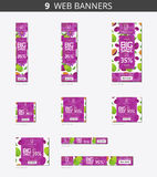 Vector advertising web banners with big sale and with pattern passionfruit and flower Stock Photo