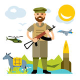 Vector Afghanistan army. Flat style colorful Cartoon illustration. Afghan military man with a gun.  on a white background Royalty Free Stock Image