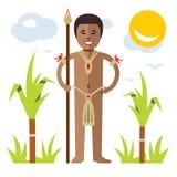 Vector African aborigine. Flat style colorful Cartoon illustration. Stock Image