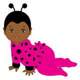 Vector African American Cute Baby Girl in Ladybug Costume Crawling. Royalty Free Stock Images