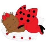 Vector African American Cute Baby Girl in Ladybug Costume Sleeping. Royalty Free Stock Photo