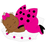 Vector African American Cute Baby Girl in Ladybug Costume Sleeping. Royalty Free Stock Images