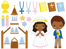 Vector African American First Communion Set Stock Image