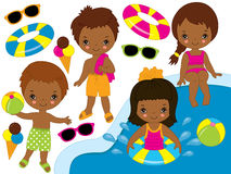 Vector African American Kids Pool Party Set Royalty Free Stock Image