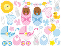 Vector African American Newborn Boy, Newborn Girl, Twins, Baby Shower Royalty Free Stock Images