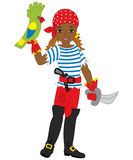 Vector African American Pirate Girl with Parrot and Sword Stock Images
