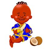 Vector African Baby eats a banana. Vector of a black boy in national costume and sits holding a banana, coconut is near Stock Images