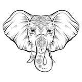 Vector african elephant in sketch style. Elephant with ornate lotus mandal. Ethnic elephant background, tattoo art, yoga. Happy Holi traditional indian festival Stock Photo