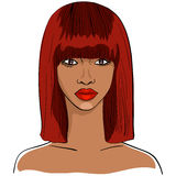 Vector African girl. Vector Color close-up sketch of a beautiful young black African girl with short red hair and a serious look vector illustration