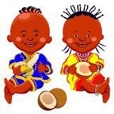 Vector African kids with coconut and bananas Stock Photography