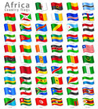 Vector African National Flag Set. Vector Collection of all African National Flags, in simulated 3D waving position, with names and grey shadow. Every Flag is on stock illustration