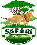 Vector african savannah safari emblem with lions. Family Stock Photo