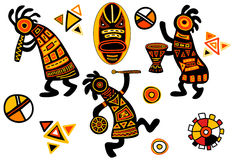 Vector african traditional patterns. Dancing musicians Royalty Free Stock Photo
