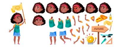 Vector afroamericano negro de la muchacha Sistema de la creación de la animación Emociones de la cara, gestos Niño, alumno Para l stock de ilustración