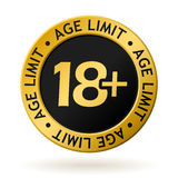 Vector age limit gold medal. Vector gold medal with symbol of age limit Royalty Free Stock Photo